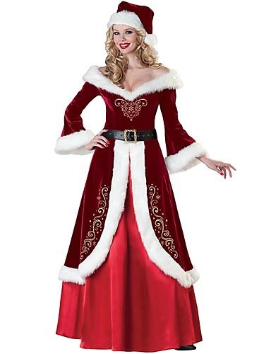 preiswerte Weihnachtskostüme-Weihnachtsmann kleiden Erwachsene Damen Halloween Weihnachten Weihnachten Halloween Karneval Fest / Feiertage Polyester Rote Karneval Kostüme Solide Weihnachten