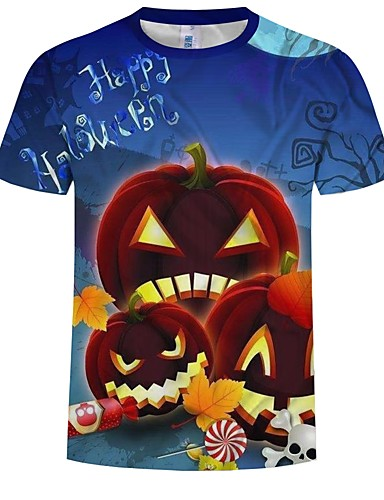 cheap Anime Costumes-Inspired by Cosplay Cosplay Anime Cosplay Costumes Japanese Cosplay T-shirt Pattern / Pumpkin / Halloween Short Sleeve T-shirt For Men's