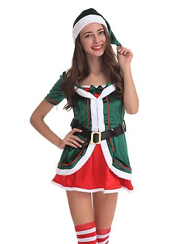 preiswerte Cosplay & Kostüme-Weihnachtsmann kleiden Erwachsene Damen Halloween Weihnachten Weihnachten Halloween Karneval Fest / Feiertage Polyester Grün Karneval Kostüme Solide Weihnachten