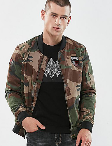 3714ca58672eb Men's Daily Basic Regular Jacket, Camouflage Stand Long Sleeve Polyester  Light Green / Army Green XL / XXL / XXXL 7010867 2019 – $54.99