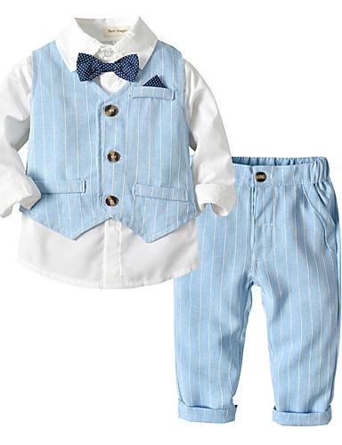 preiswerte Mode für Jungs-Baby Jungen Aktiv / Grundlegend Alltag / Schultaschen Solide Langarm Standard Baumwolle Kleidungs Set Beige