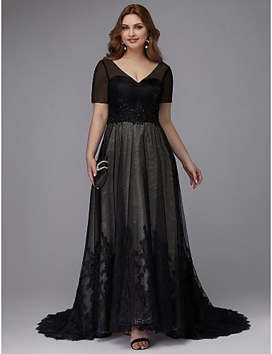 voordelige Grote maten jurken-A-lijn V-hals Strijksleep Kant / Tule Formele avonden Jurk met Kralen / Appliqués door TS Couture®