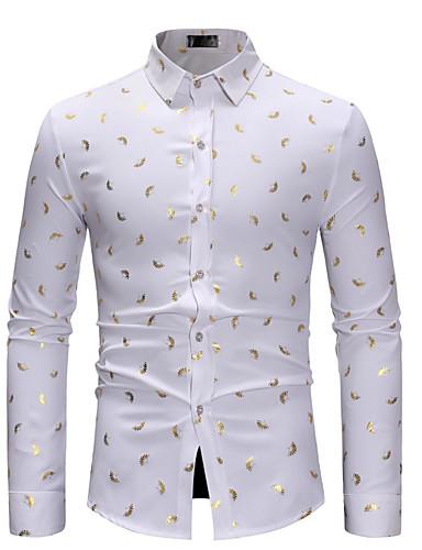 Homens Camisa Social Boho / Moda de Rua Geométrica Preto