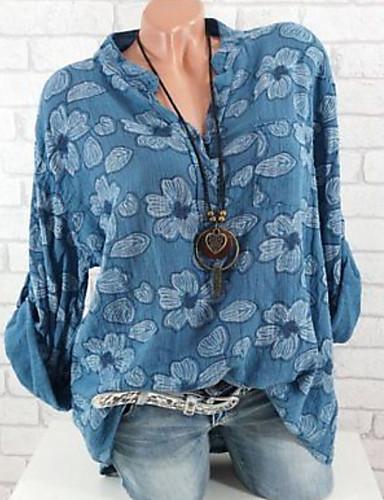 billige Dametopper-Bomull Løstsittende Skjortekrage Store størrelser Bluse Dame - Blomstret Grunnleggende Svart
