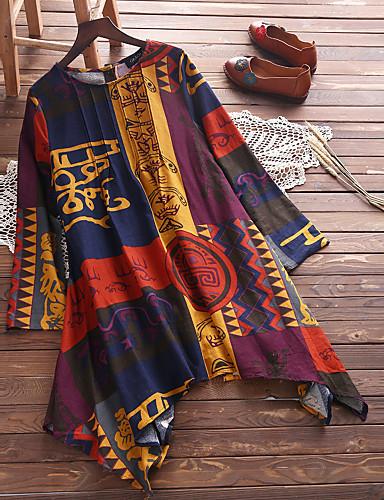 billige Dametopper-Bomull Løstsittende Store størrelser Skjorte Dame - Geometrisk Grunnleggende Oransje