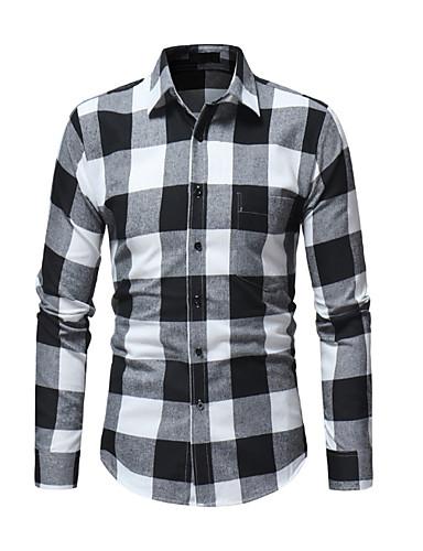 f1e9da2050b7 Ανδρικά Πουκάμισο Τετράγωνο Καρό Μαύρο   Κόκκινο   Ασπρόμαυρο 7024655 2019  –  18.69