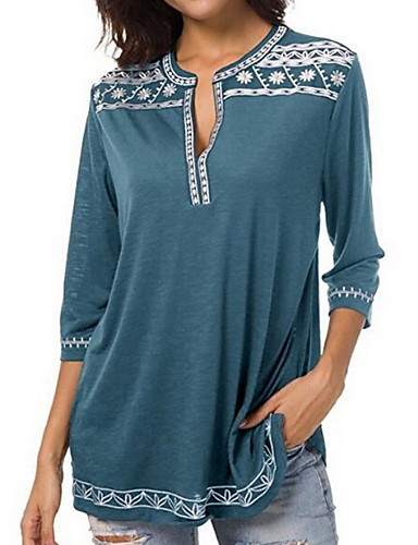 billige Skjorter til damer-Dyp V Store størrelser Skjorte Dame - Ensfarget / Geometrisk Grunnleggende Lilla