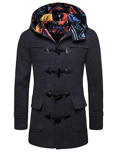 preiswerte Normale Jacken-Herrn Alltag Grundlegend Herbst / Winter Standard Mantel, Solide V-Ausschnitt / Mit Kapuze Langarm Elasthan Schwarz / Marineblau / Grau