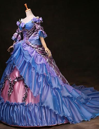 povoljno Maske i kostimi-Cinderella Princeza Victoria Style Rococo Haljine Izgledi Kostim za party Povorka maski Žene Kostim Duga Vintage Cosplay Party Prom 3/4 rukava