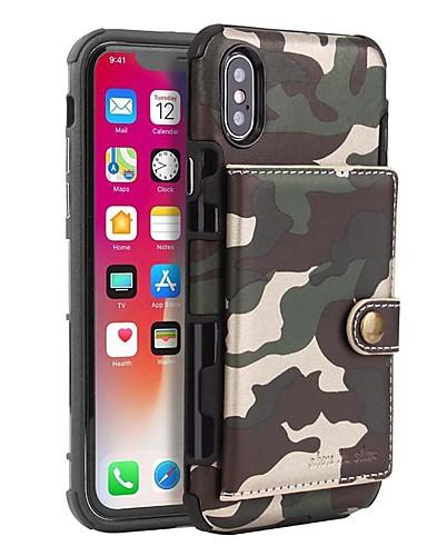 Θήκη Za Apple iPhone XS / iPhone XS Max / iPhone X Utor za kartice / Otporno na trešnju / Protiv prašine Korice Jednobojni / Maskirni Tvrdo PU koža / PC