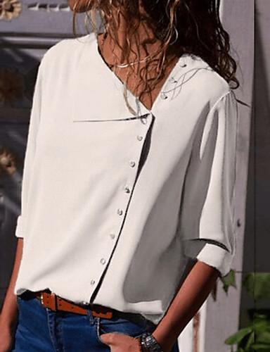billige Skjorter til damer-Tynn Skjortekrage Skjorte Dame - Ensfarget Grunnleggende Dusty Rose Navyblå