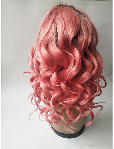 povoljno Perike s ljudskom kosom-Virgin kosa Remy kosa Full Lace Perika Srednji dio Stražnji dio S konjskim repom Kardashian stil Brazilska kosa Valovita kosa Pink Perika 150% Gustoća kose s dječjom kosom Nježno Prirodno Prirodna