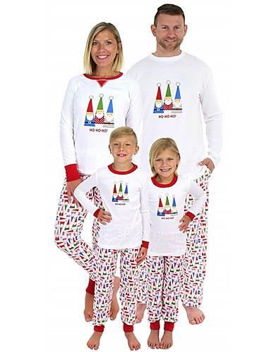 Obiteljski izgled Osnovni Božić Dnevno Geometrijski oblici Dugih rukava Komplet odjeće Obala