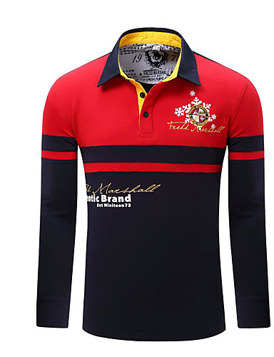 voordelige Herenpolo's-Heren Polo Kleurenblok Overhemdkraag Rood / Lange mouw