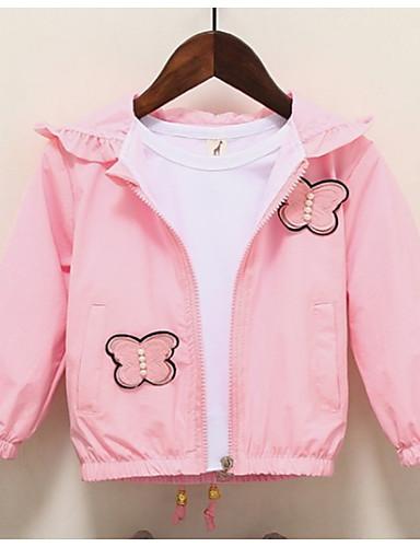 Dijete Djevojčice Osnovni Jednobojni Dugih rukava Normalne dužine Pamuk Jakna i kaput Blushing Pink