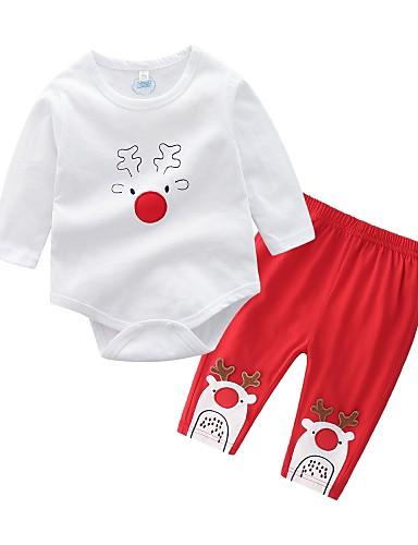 Dijete Djevojčice Osnovni Dnevno / Praznik Print Dugih rukava Regularna Pamuk Komplet odjeće Obala / Dijete koje je tek prohodalo