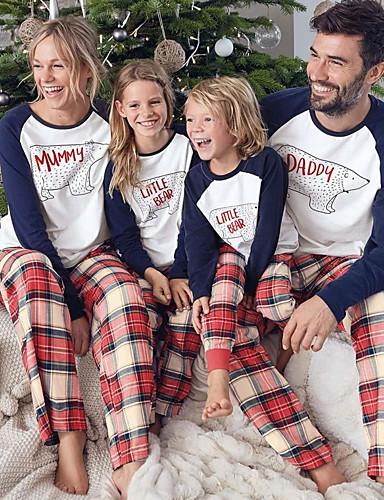 preiswerte Kindermode-Familienblick Grundlegend Weihnachten Festtage Buchstabe Weihnachten Langarm Standard Standard Kleidungs Set Weiß