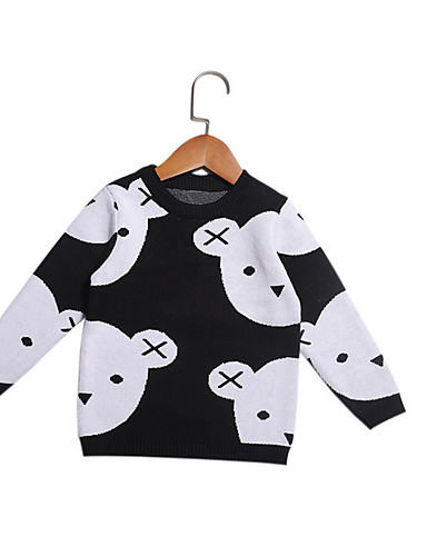 赤ちゃん 女の子 ベーシック 日常 ソリッド 長袖 レギュラー コットン セーター&カーデガン ブラック