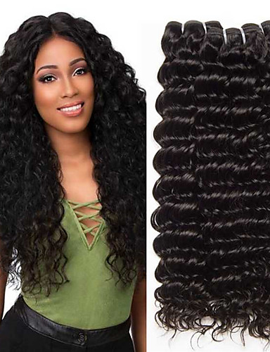 cheap Human Hair Weaves-3 Bundles Deep Curly Human Hair Unprocessed Human Hair 300 g Natural Color Hair Weaves / Hair Bulk Extension Bundle Hair 8-28 inch Natural Color Human Hair Weaves Extender Silky Best Quality Human
