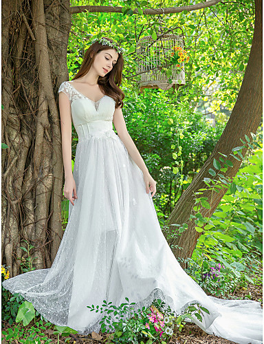 133f8c0474 A-Line V Neck Court Train Lace   Tulle Made-To-Measure Wedding Dresses with  Appliques   Lace by LAN TING Express 7029510 2019 –  314.99