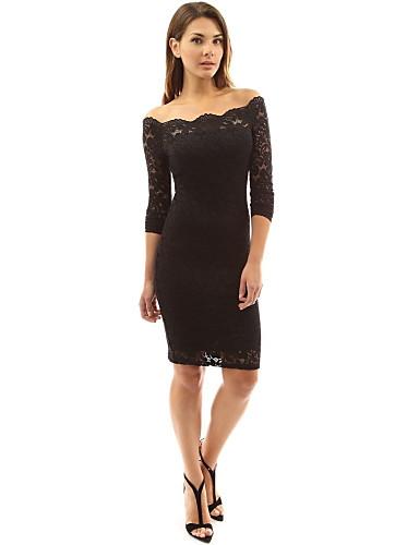 preiswerte Abschlussball-Kleider-Eng anliegend Schulterfrei Kurz / Mini / Knie-Länge Spitze Cocktailparty Kleid mit durch LAN TING Express / Transparente