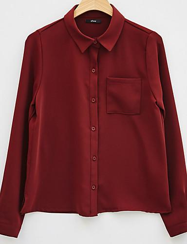 billige Bluser-Skjortekrage Bluse Dame - Ensfarget Hvit