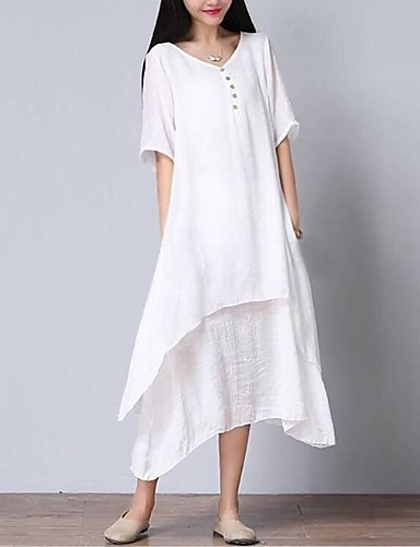 f87d90e4266 Women s Asymmetrical Plus Size Daily Weekend Loose Dress - Solid Colored  White