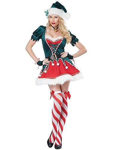 preiswerte Cosplay & Kostüme-Weihnachtsmann kleiden Damen Erwachsene Weiterführende Schule Halloween Weihnachten Weihnachten Halloween Karneval Fest / Feiertage Polyester Austattungen Tintenblau Solide Weihnachten