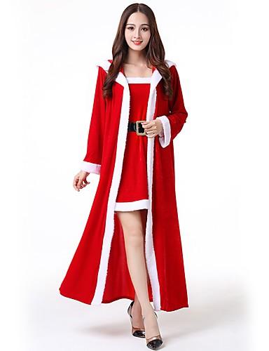 preiswerte Cosplay & Kostüme-Weihnachtsmann kleiden Erwachsene Damen Halloween Weihnachten Weihnachten Halloween Karneval Fest / Feiertage Polyester Rote Karneval Kostüme Solide Weihnachten