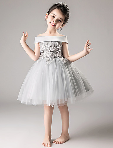 91f3940142c6 A-Line / Princess Medium Length Flower Girl Dress - Tulle Sleeveless Off  Shoulder with Appliques / Tiered by LAN TING Express 7013754 2019 – $47.49