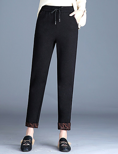 cc114b07e2c8 Women s Plus Size Chinos Pants - Solid Colored Black   Going out 7020371  2019 –  35.99