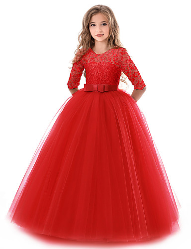levne Krásné šaty-Princess Long Length Šaty pro květinovou družičku - Krajka / Tyl Poloviční rukáv Klenot s Krajka / Pásek podle LAN TING Express