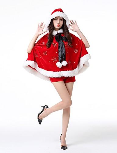 preiswerte Weihnachtskostüme-Weihnachtsmann kleiden Damen Erwachsene Halloween Weihnachten Weihnachten Halloween Karneval Fest / Feiertage Polyester Austattungen Rote Solide Weihnachten