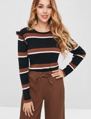 6f7432398 Women s Daily Basic Striped Long Sleeve Slim Short Pullover