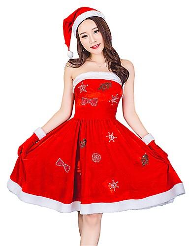 preiswerte Cosplay & Kostüme-Weihnachtsmann kleiden Damen Erwachsene Halloween Weihnachten Weihnachten Halloween Karneval Fest / Feiertage Polyester Austattungen Rote Solide Weihnachten