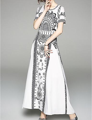 levne Maxi šaty-Dámské Vintage Nahoře nabírané A Line Šaty Třásně Maxi