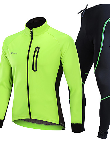 cheap Cycling-Nuckily Men's Long Sleeve Cycling Jacket with Pants Black Green Blue Solid Color Bike Clothing Suit Thermal / Warm Windproof Fleece Lining 3D Pad Winter Sports Polyester Spandex Fleece Solid Color