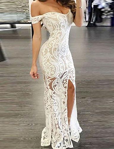 preiswerte Festival-Damen Sexy Bodycon Kleid Asymmetrisch Schulterfrei
