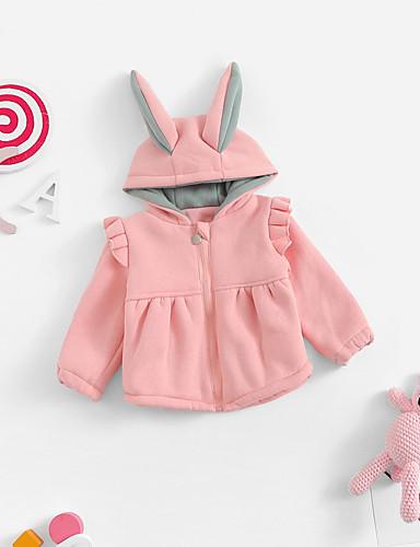 Djeca Djevojčice Aktivan Jednobojni Dugih rukava Regularna Jakna i kaput Blushing Pink