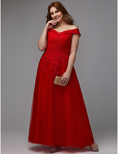 5ee7567bb8 Plus Size A-Line Off Shoulder Floor Length Lace / Tulle Formal Evening Dress  with Appliques / Lace Insert by TS Couture® 6970795 2019 – $119.99