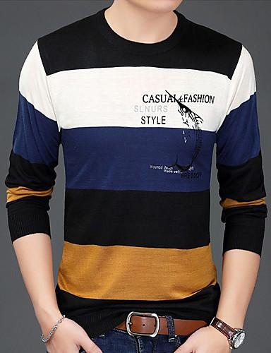 a72443583b41 Ανδρικά T-shirt Βασικό - Βαμβάκι Συνδυασμός Χρωμάτων Στρογγυλή Λαιμόκοψη  Πράσινο του τριφυλλιού XL   Μακρυμάνικο 7004260 2019 –  13.99