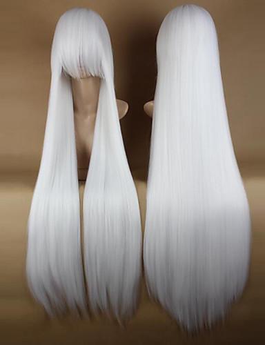 preiswerte Cosplay Perücken-Synthetische Perücken Perücken Glatt Kardashian Stil Mit Pony Kappenlos Perücke Weiß Synthetische Haare 34 Zoll Damen Party Seitenteil Weiß Perücke Sehr lang