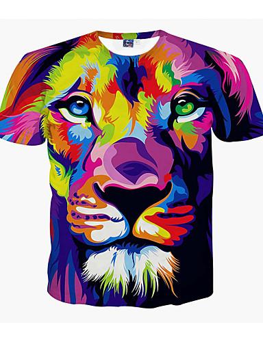 Tryck, 3D / Djur Plusstorlekar T-shirt Herr Rund hals Lejon Purpur / Kortärmad / Sommar