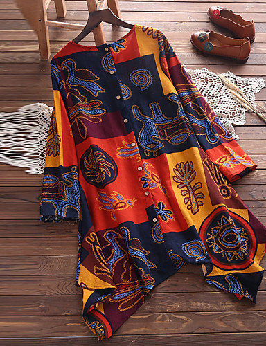 preiswerte Neue farbige Saison-Damen Geometrisch - Grundlegend Übergrössen Baumwolle Hemd Lose Orange