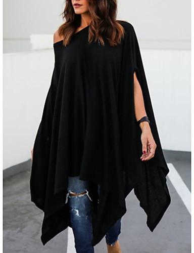 billige Dametopper-Løstsittende Enskuldret T-skjorte Dame - Ensfarget Gatemote Svart