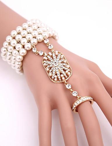 preiswerte Armband Ring-Damen Klar Kubikzirkonia Ring-Armbänder Glasperlen Sklaven Aus Gold damas Retro 20er Künstliche Perle Armband Schmuck Schwarz / Rotgold / Gold Für Party Maskerade