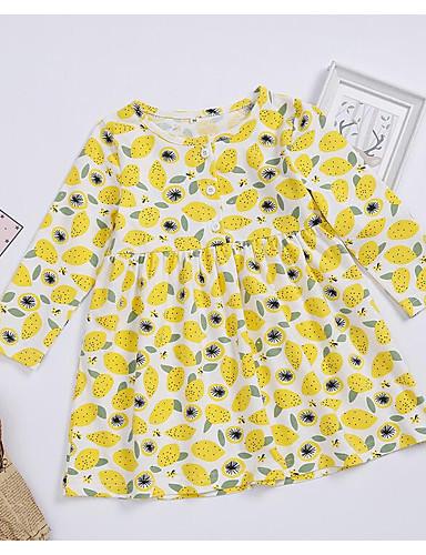 赤ちゃん 女の子 ベーシック 幾何学模様 長袖 レギュラー ドレス イエロー / 幼児
