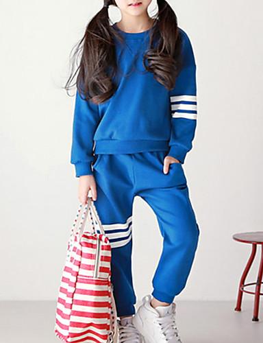 Djeca Djevojčice Osnovni Color block Dugih rukava Pamuk Komplet odjeće Plava