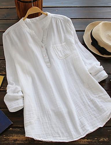 billige Skjorter til damer-Løstsittende Høy krage Store størrelser Skjorte Dame - Ensfarget Gatemote Blå
