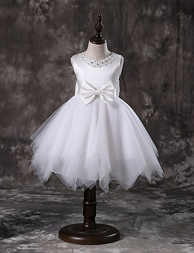 A-Line / Princess Knee Length / Medium Length Flower Girl Dress - Polyester / Tulle / Satin Chiffon Sleeveless Jewel Neck with Faux Pearl / Bow(s) / Tier by LAN TING Express